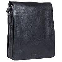 Надежная мужская кожаная сумка черная Итальянского бренда Lare Boss LB0065016-31