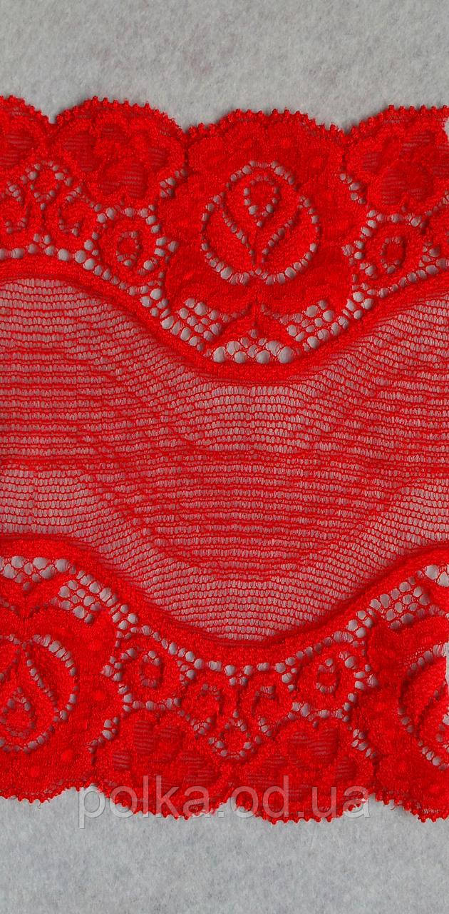 Стрейчевое кружево -493,ширина 14см,цвет красный