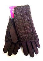 Женские перчатки трикотаж, вязка (митенки), коричневые