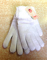Женские перчатки Корона ангора/махра, белые