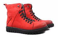 Ботинки женские Molly Bessa нубук, цвет красный (ботильоны, платформа, зима, нат. мех, Турция)
