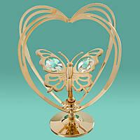 Фигурка с кристаллов Сваровски Бабочка в сердце 0002-004
