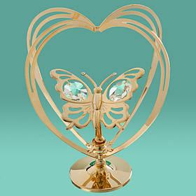 "Фигурка""Бабочка в сердце"" Crystocraft с кристаллами Swarovski, 0002-004"