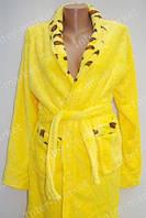 Короткий Махровый халат с вставкой 5 цветов