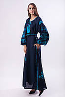 """Длинное платье из синего льна """"Волшебная птица"""", фото 1"""