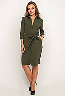 Платье-рубашка 17-68 короткая хаки, Размер M
