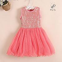 """Коктейльное платье для девочек """"Ева"""". В коралловом цвете."""