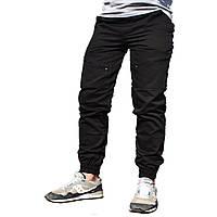 Мужские штаны зауженные с манжетами, черные