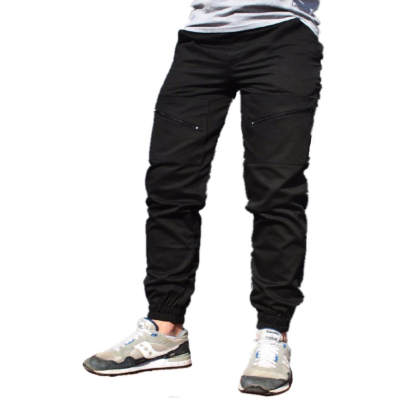 b9c00088 Мужские штаны зауженные с манжетами, черные - Магазин обуви Brand Market  (бренд онлайн)