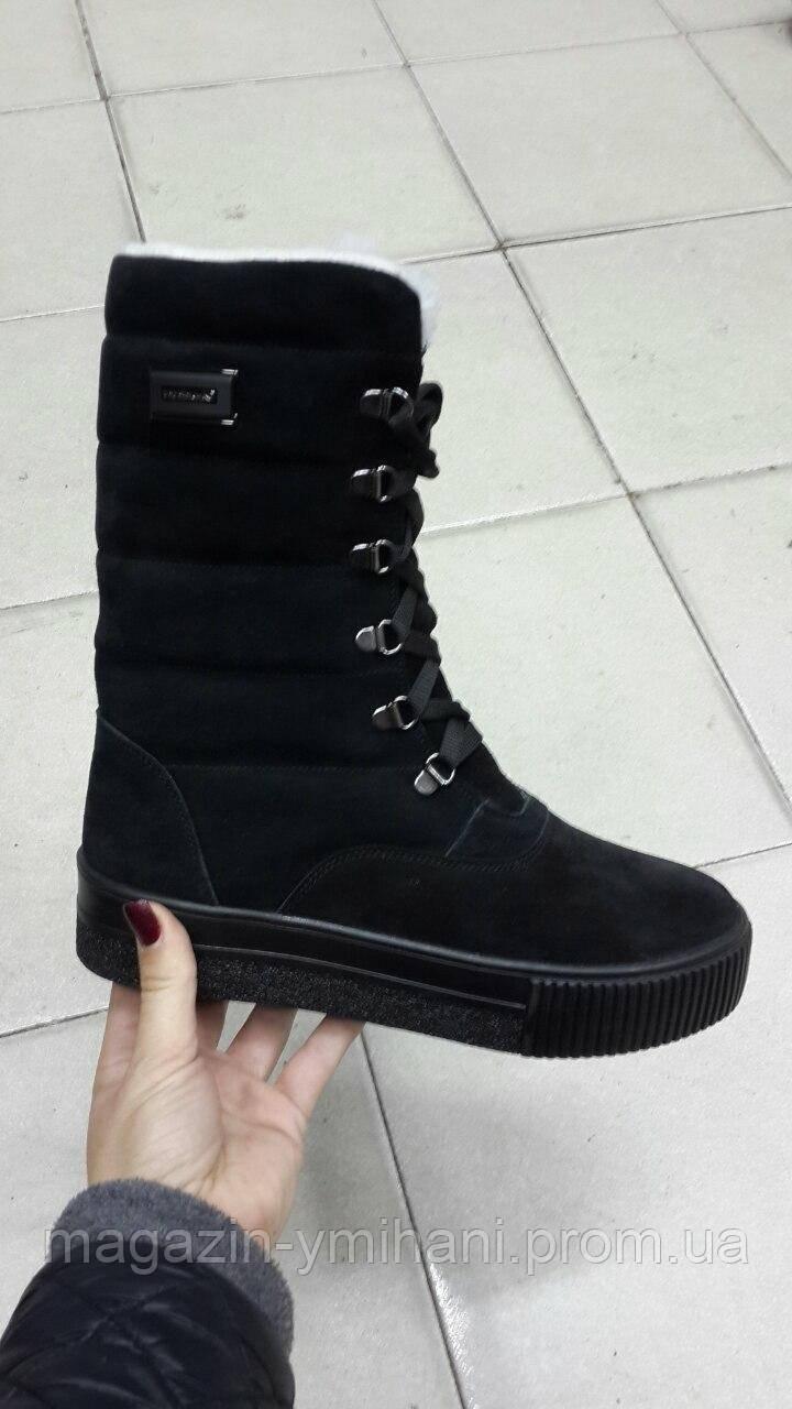 Черные высокие женские зимние ботинки . Украина - Интернет-магазин
