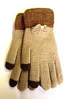 Сенсорные женские перчатки Корона вязка, песочного цвета