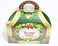 """Новогодняя картонная упаковка для сладостей """"Сундук зеленый"""" 700 г."""