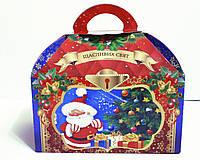 """Недорогая новогодняя картонная упаковка """"Сундучок красный"""" для конфет 700 г."""