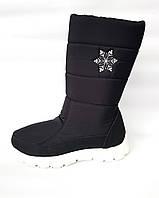 Женские дутики сапоги аляска. ТСА 305 черный + вышивка