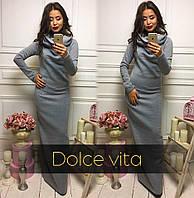 Длинное теплое платье с капюшоном-хомутом 2203385