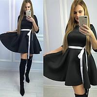 Платье из неопрена с декорированной юбкой 5803382