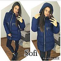 Зимняя женская куртка в больших размерах на молнии и с капюшоном 6915257