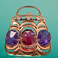 Фигурка Сумочка с разноцветными кристаллами Сваровски 0161-001
