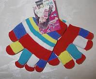 Перчатки двойные толстые детские красные от 2 лет