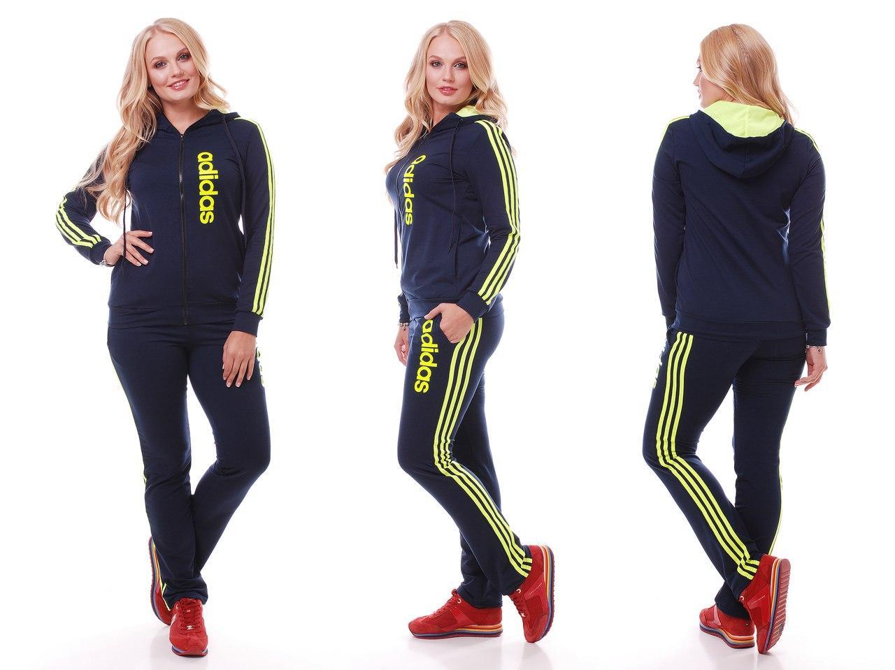 Женский спортивный костюм штаны и куртка с капюшоном реплика Adidas серия он и она батальные размеры