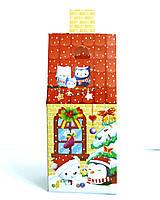 """Стильная картонная новогодняя упаковка  """"Теремок с камином красный"""" 400 г."""