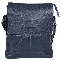 Повседневная мужская кожаная сумка через плечо синяя Tofionno TF006601-11