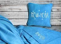 """Новогодний набор: подушка + плед """"New Year!"""" 11 цвет на выбор"""