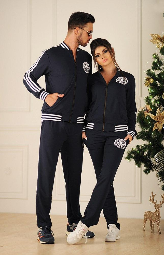Спортивний костюм жіночий з лампасами, репліка Adidas, серія він і вона