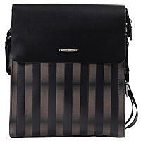 Эксклюзивная мужская кожаная сумка в полоску черно-бежевая High Touch HT007191-41