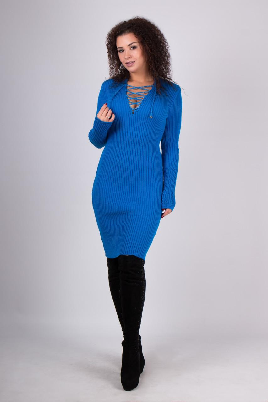 В'язана жіноча туніка, сукня Ріанна, електрик