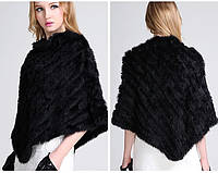 Меховой платок из кролика черный. Накидка, пончо, шаль. , фото 1
