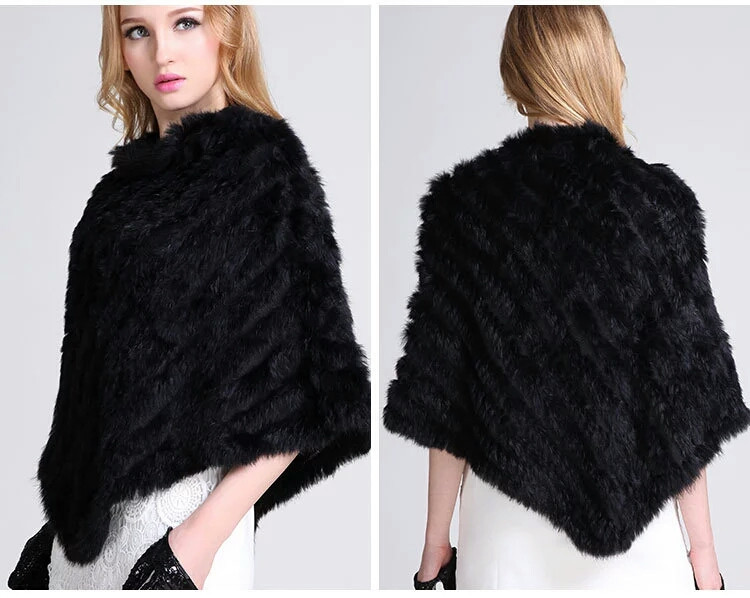 Меховой платок из кролика черный. Накидка, пончо, шаль., фото 1