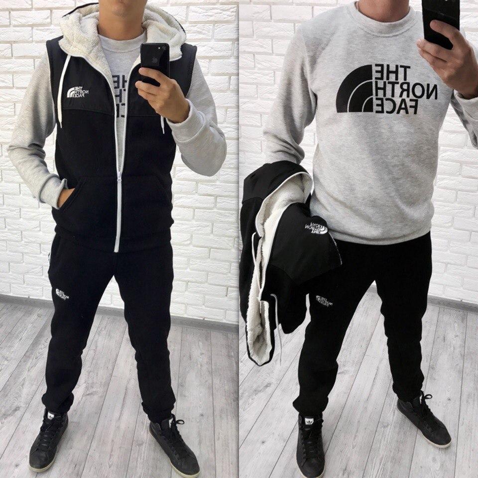Мужской зимний спортивный костюм тройка: жилетка, батник, штаны, серия он и она