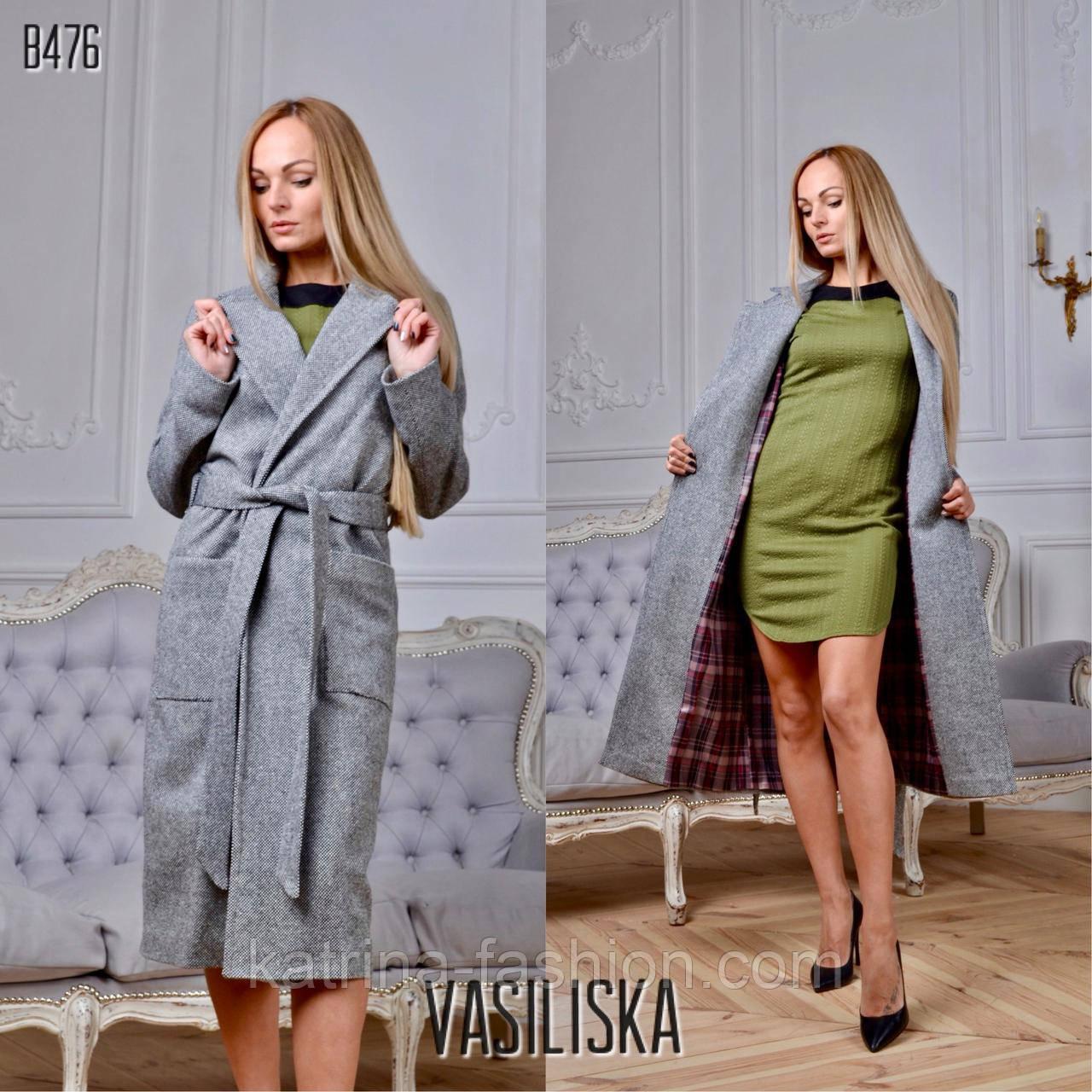 Женское модное пальто с поясом и подкладом на запах с накладными карманами