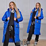 Женская модная удлиненная зимняя куртка на молнии с капюшоном (7 цветов), фото 2