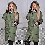 Женская модная удлиненная зимняя куртка на молнии с капюшоном (7 цветов), фото 5