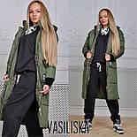 Женская модная удлиненная зимняя куртка на молнии с капюшоном (7 цветов), фото 6