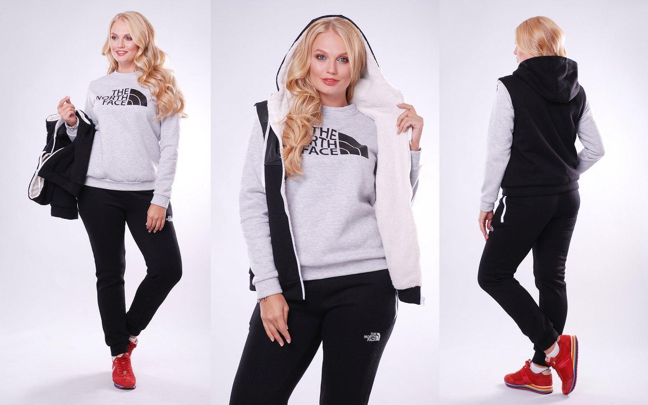 Женский зимний спортивный костюм тройка: жилетка, батник, штаны, серия он и она, батальные размеры