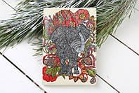 Обложка на Паспорт / Серый Слон в Профиль с Цветами  / Кожзам