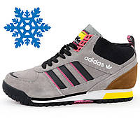 Зимние мужские кроссовки Адидас Adidas ZX TR MID серые Топ качество!