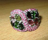 """Шикарный перстень с  турмалинами, хромдиопсидом и рубинами """"Зигзаг"""", размер 18,5  от студии LadyStyle.Biz, фото 1"""