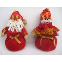 """Игрушка плюшевая """"Дед Мороз / Снеговик в мешке"""" 21 см."""