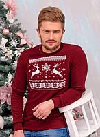 Свитшот Рождественский с оленями мужской Бордовый, XXL