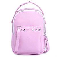 Женский кожаный рюкзак и на поясная сумка 2в1 original scotty pink   Jizuz