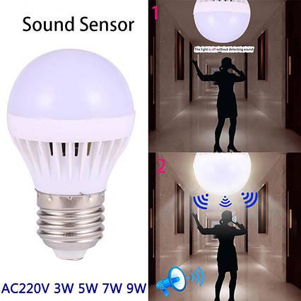 Светодиодная лампа 5W с датчиками освещенности и звука, фото 2