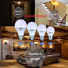 Светодиодная лампа 5W с датчиками освещенности и звука, фото 3