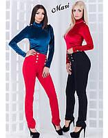 Брюки женские стильные с завышенной талией плотный джерси 3 цвета 2Bmil17