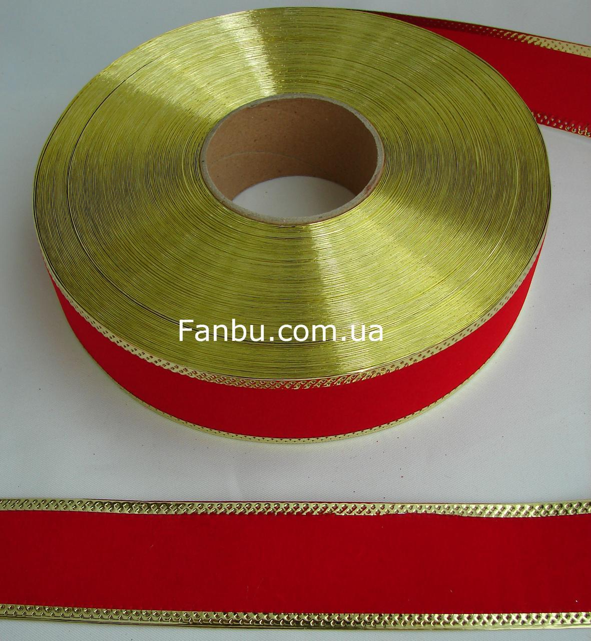 Новогодняя бархатная красная лента для бантов с проволочным краем 1уп-45м(ширина 4 см)