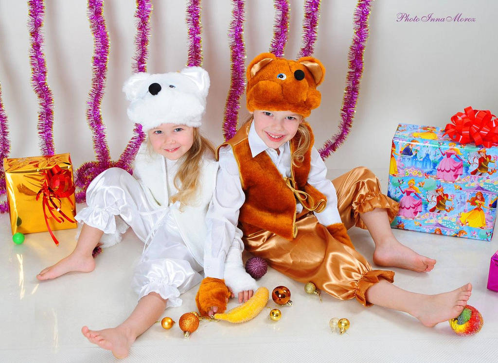 Детский новогодний костюм мишка белый