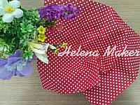 Отрез ткани для рукоделия 20*25 см Красный в мелкий белый горошек